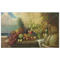 Irresistible Huge Still Life OIl Painting Jacques Callaert, Belgian Artist signd