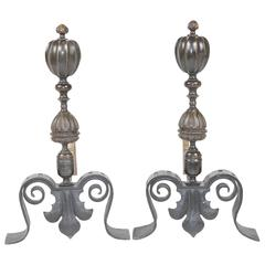 19th Century Pair of Continental Bronze and Iron Andirons