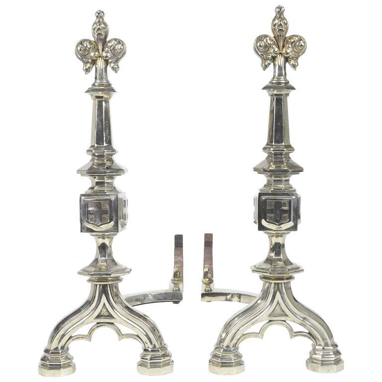 Pair of Fleur De Lis Motif Silvered Andirons For Sale