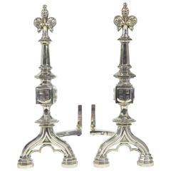 Pair of Fleur De Lis Motif Silvered Andirons