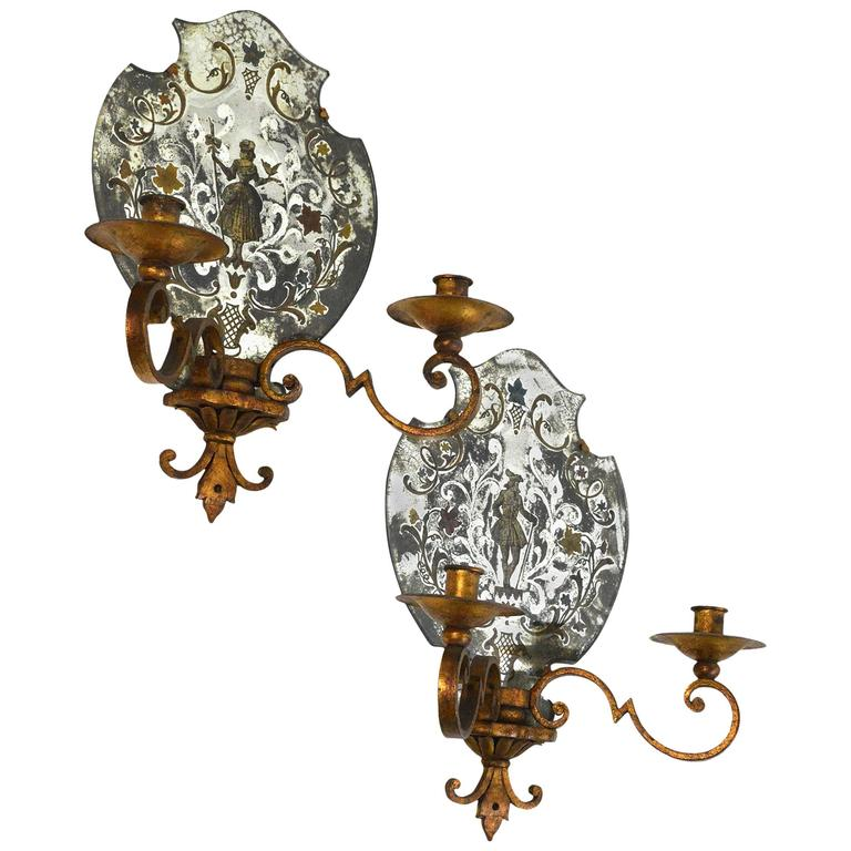 Venetian Wall Sconces : Pair of Venetian Style Mirrored Two-Arm Wall Sconces For Sale at 1stdibs