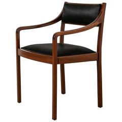 Mahogany Armchair with Black Horsehair Upholstery, Denmark, 1950s