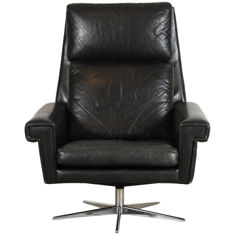 this black leather danish high back swivel chair is no longer