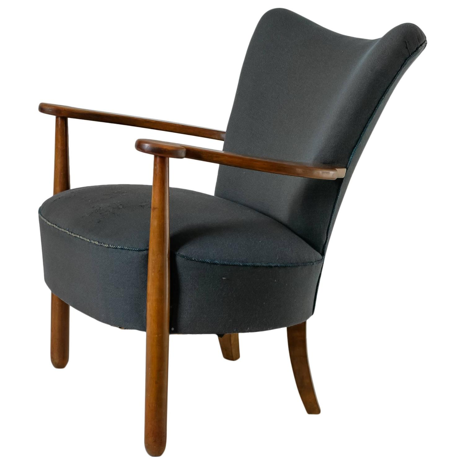 Danish Curved Easy Chair with Nut Wood Frame and Blue Wool 1940s