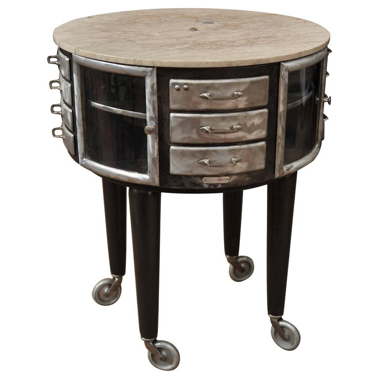 1930s Steel And Marble Girator French Dentist Cabinet At