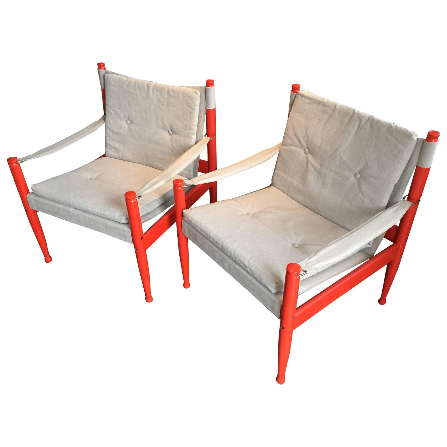 Pair of Danish Safari Sling Lounge Chairs by Erik W¸rts for Niels
