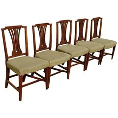 Set of Five English Late 18th Century Elm Dining Chairs