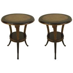Pair of 1940s French Regency Style Circular Carved End Tables