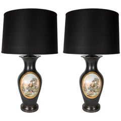Pair of Art Deco Urn Form Black Bisque Glaze Table Lamps with Pastoral Scene