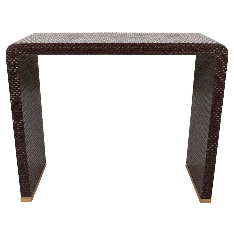 Mid-Century Modern Waterfall Grasscloth Console Table