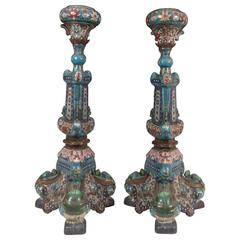 Pair of Chinese Cloisonné Temple Candlesticks