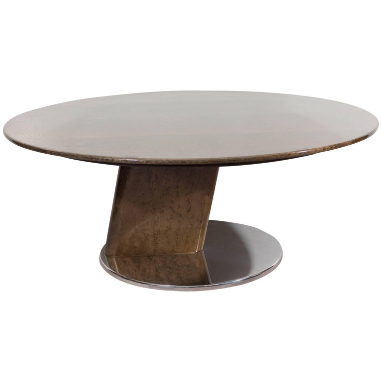 A Saporiti Modernist Coffee Table in Lacquered Birdseye Maple on Steel For Sale