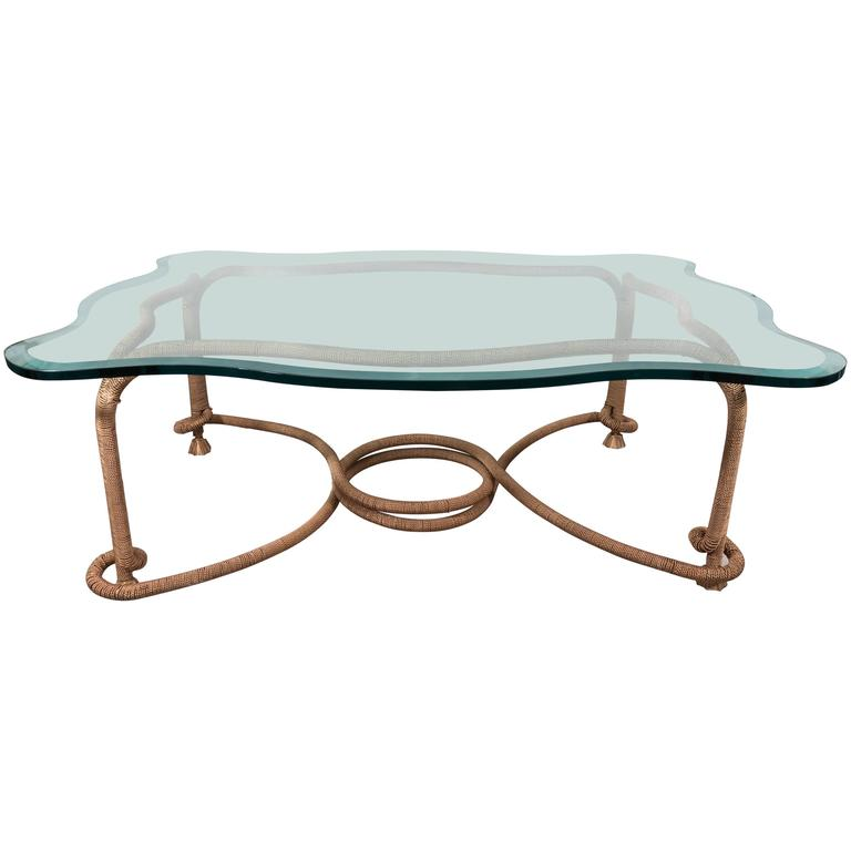 Glass Top Coffee Table with Distinctive Gilt Coiled Frame
