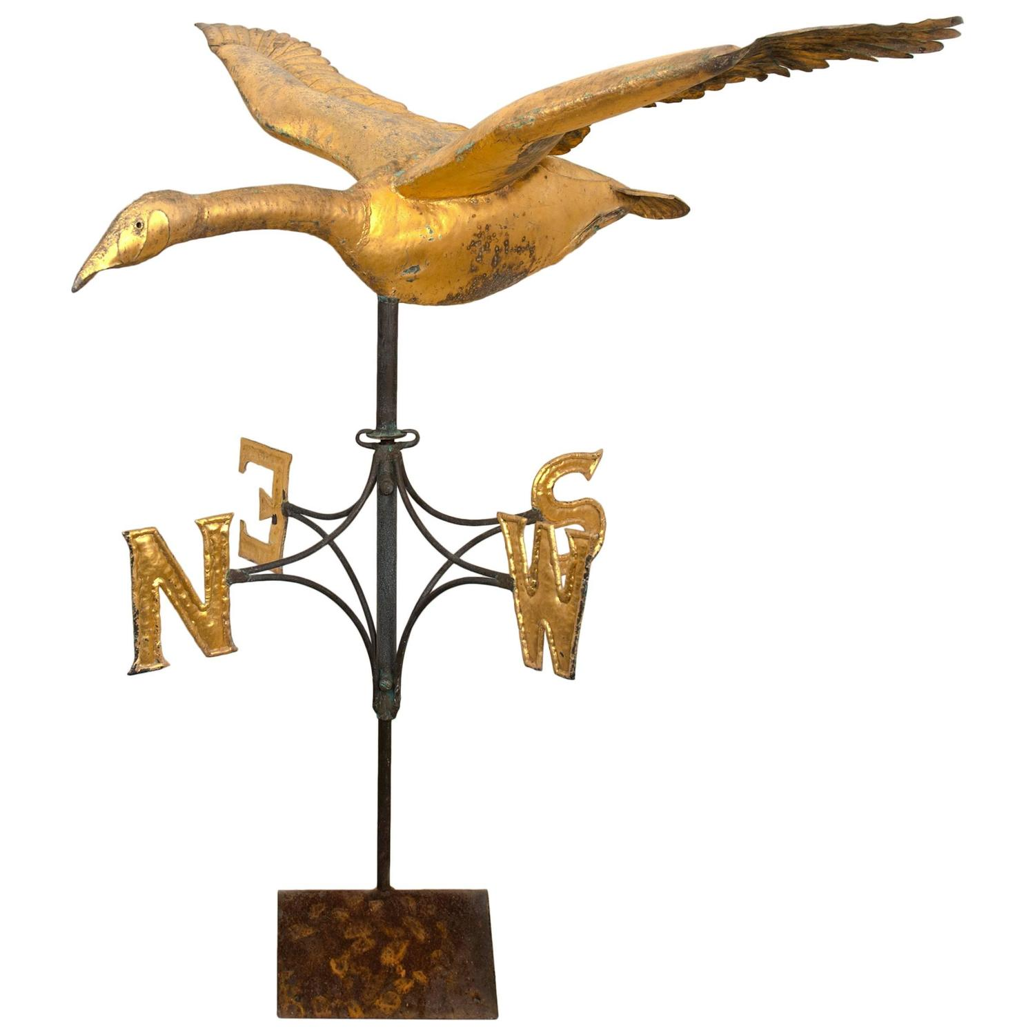 Vintage Weather Vane: Folk Art Goose Weathervane, Circa 1940 At 1stdibs