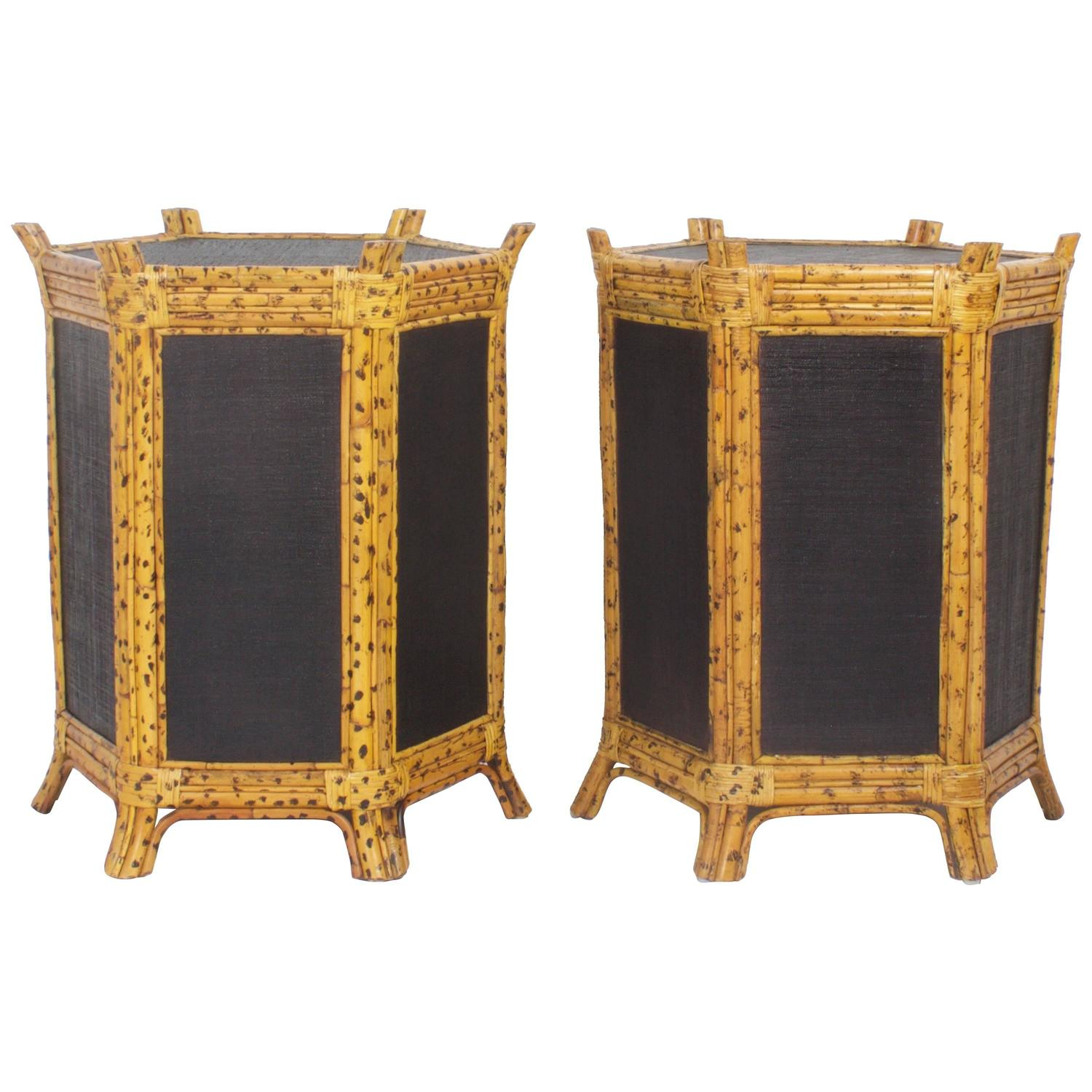 Bamboo Tortoise Coffee Table: Pair Of Faux Tortoise Shell Bamboo Tables At 1stdibs