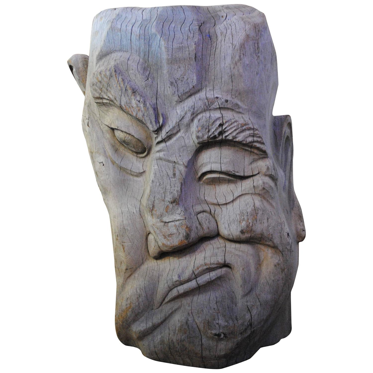 Large hand carved wood face sculpture for sale at stdibs