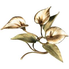 """1970s """"Three Lilies"""" Bronze Table Centerpiece by Chrystiane Charles"""