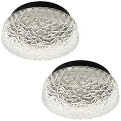 Pair of Flush Mount or Wall Light Fixtures Textured Glass by Hoffmeister Germany