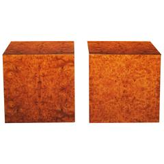 Milo Baughman : Pair of Mid Century Burl Walnut Side Tables