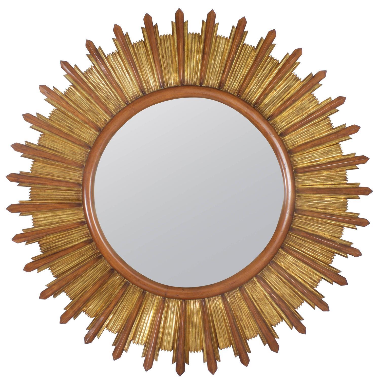 Carved wood and gilt sunburst mirror for sale at 1stdibs for Sunburst mirror