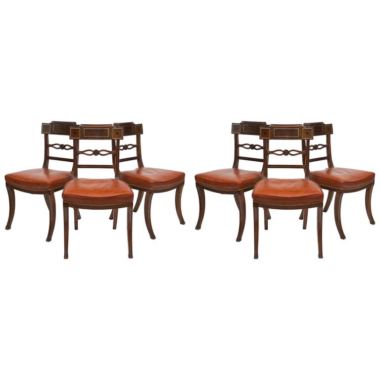Remarkable Set of Six English Regency Klismos-Form Dining Chairs, circa 1805