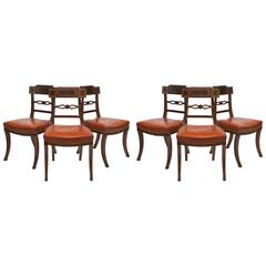 English Regency Inlaid Mahogany Klismos Dining Chairs, Set of Six, circa 1805