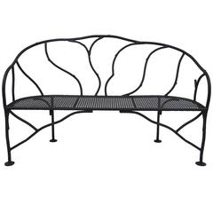 Faux Bois Wrought Iron Garden Bench