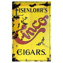 Early Porcelain Cinco Cigar Advertising Sign