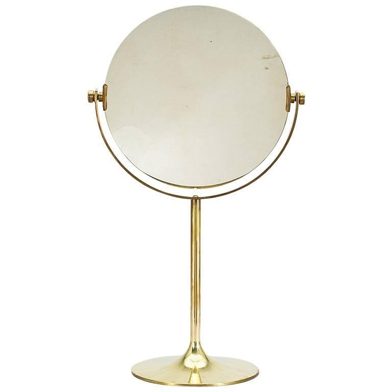 Large Swedish Brass Double Sided Console Mirror 1950s For