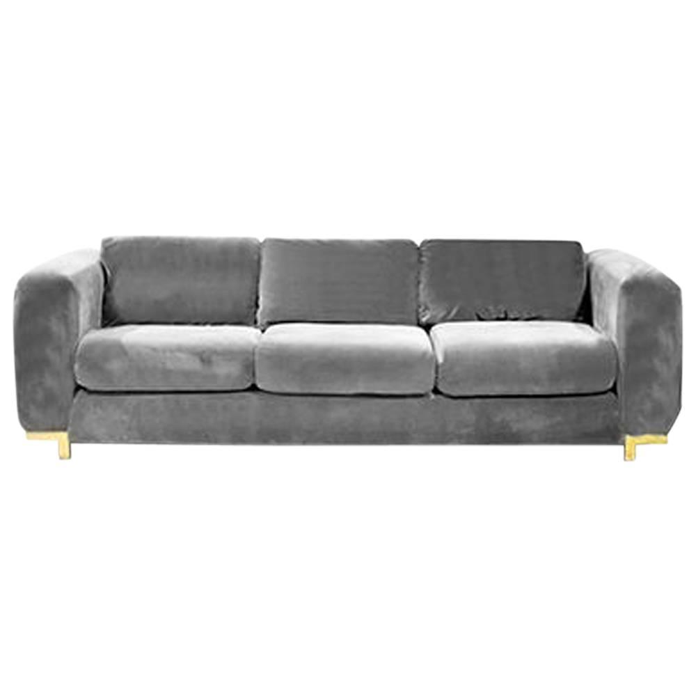 Vintage three seat grey velvet sofa for sale at 1stdibs for Gray sofas for sale