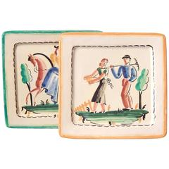 """Workers and Woman on Horseback,"" Rare Decorated Art Deco Plates, Italy"