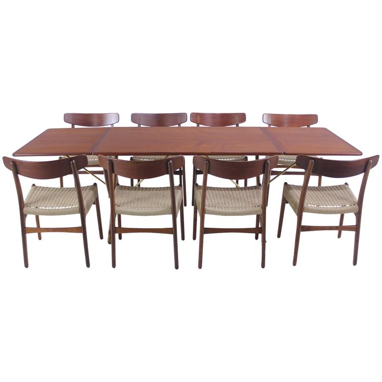 distinguished danish modern teak and oak dining set