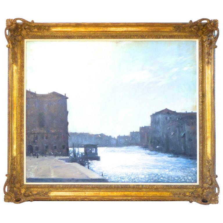 Original Oil Painting of an Italian Canal Scene