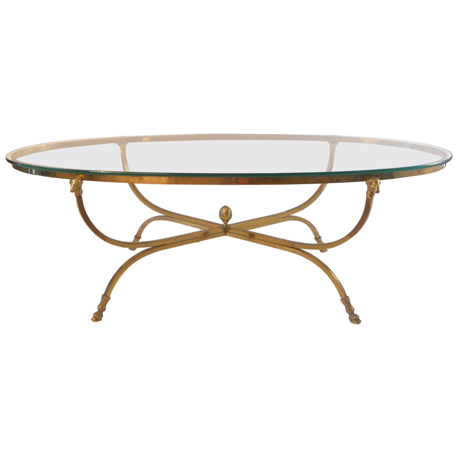 Maison Jansen Oval Cocktail Table With Ram's-Head Detail