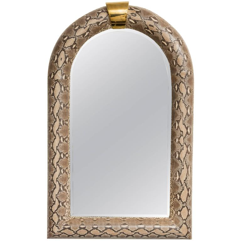 Genuine Python Half-Round Mirror, Style of Karl Springer