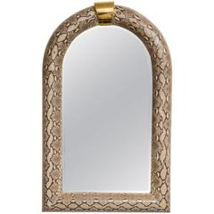 Genuine Python Half-Round Mirror, Style of Karl Springer