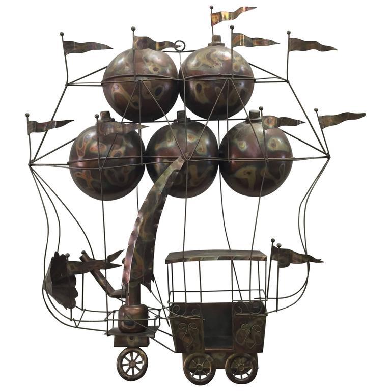 Curtis Jere Fantasy Hot Air Balloon Wall Sculpture At 1stdibs