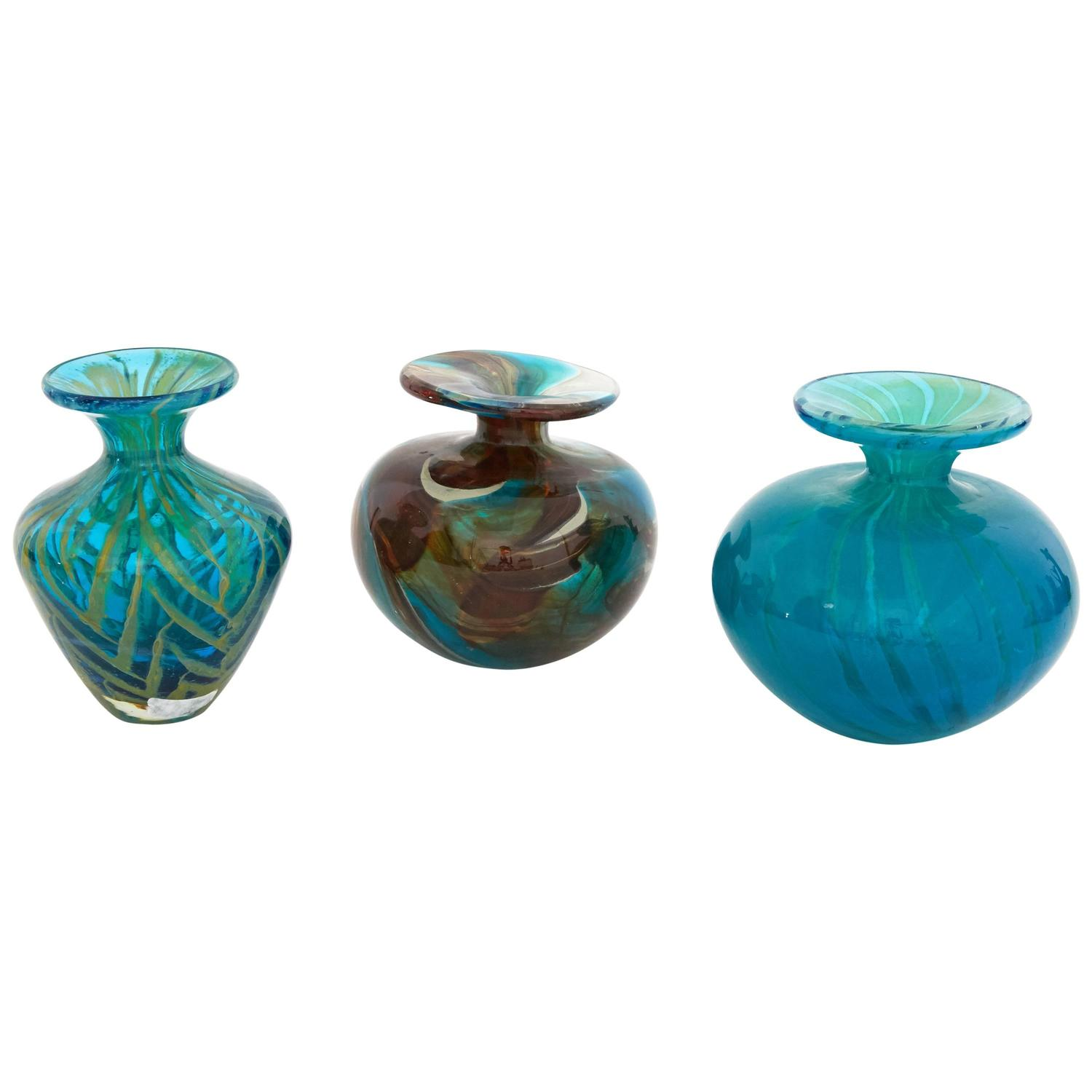 Unique Midcentury Glass Blown Multicolored Vases At 1stdibs