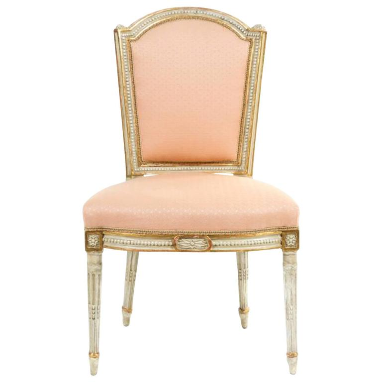 18th century louis xvi side chair with painted and gilt finish at 1stdibs - Louis th chairs ...