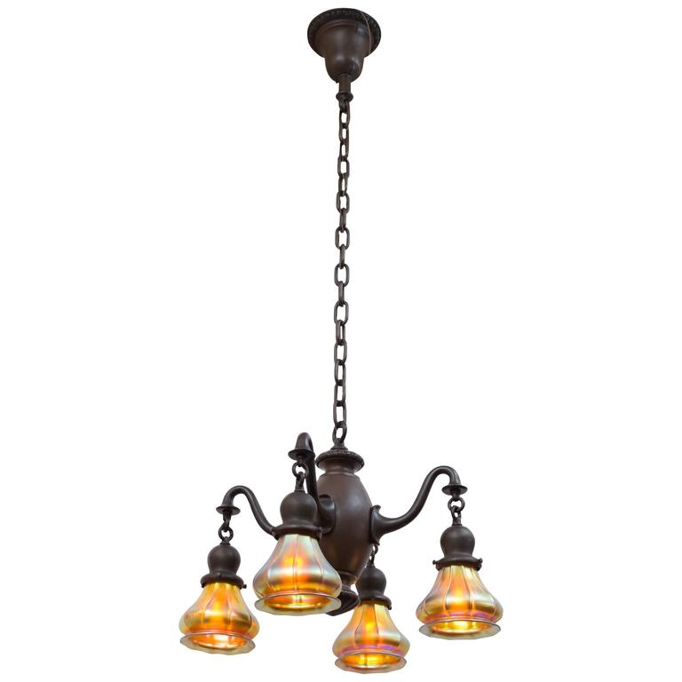 Four Arm Chandelier With Art Glass Shades For Sale At 1stdibs