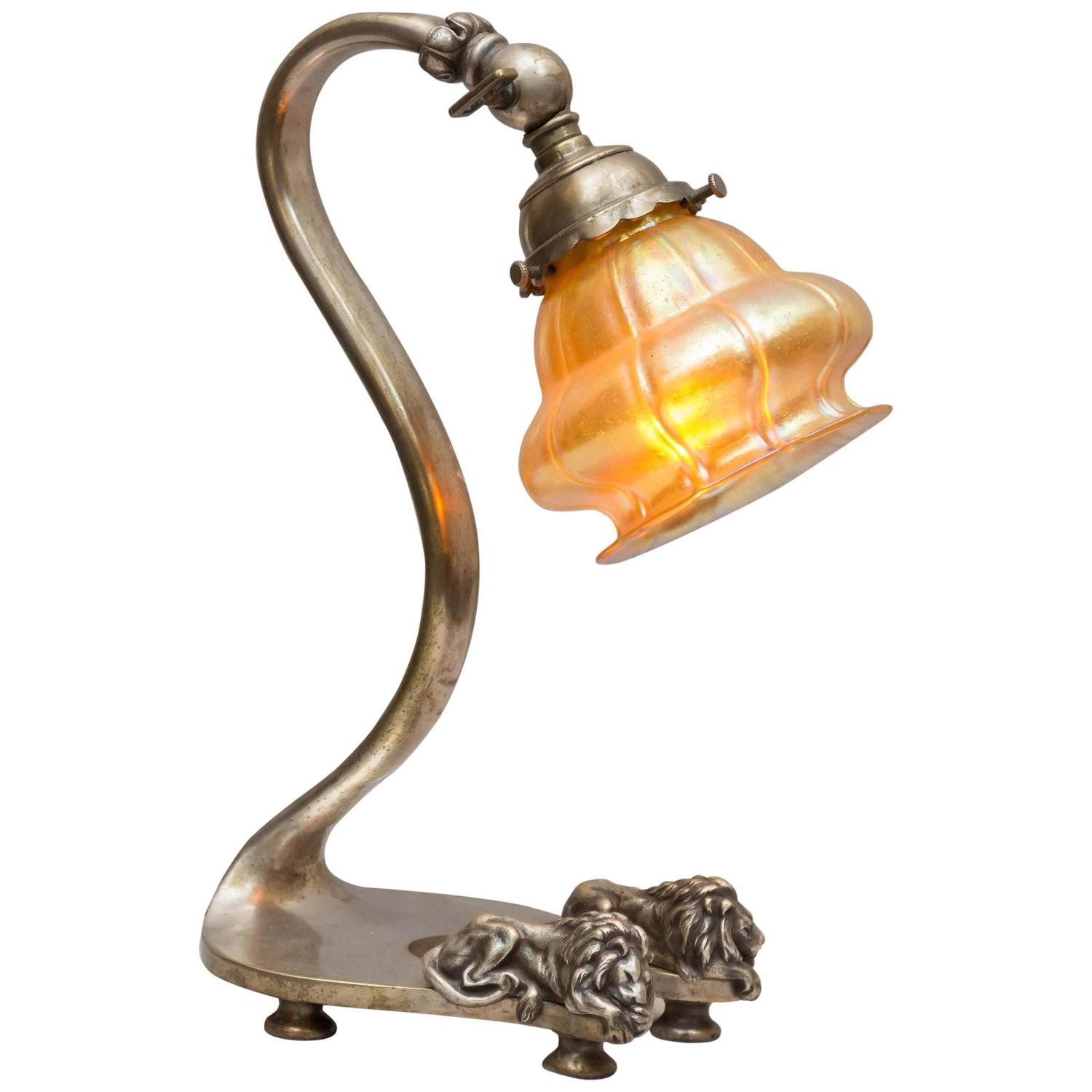 silvered bronze desk lamp with lions and art glass shade. Black Bedroom Furniture Sets. Home Design Ideas