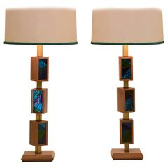 Vintage Cubist Mosaic Glass Positionable Table Lamp, Pair by Georges Briard