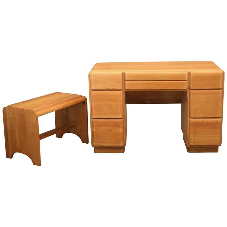 Solid Maple Vanity and Stool, circa 1950s For Sale