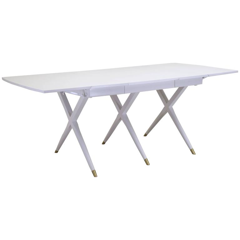 White Lacquer Dining Table : Outstanding Scissor Base Dining Table in White Lacquer with Brass Tips ...