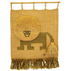 Large Lion Textile Art by Don Freedman for Interlude
