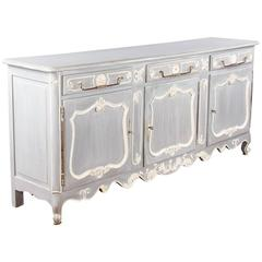 French Louis XV Style Painted Enfilade Buffet, Late 1800s