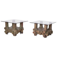 Unique Pair of Brutalist Bronze Side Tables in the Manner of Paul Evans