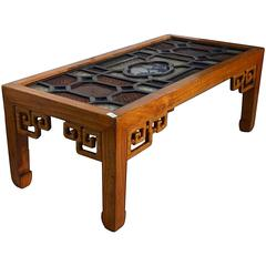 Antique Wood Coffee Table with Stained Glass Top from 19th Century, China