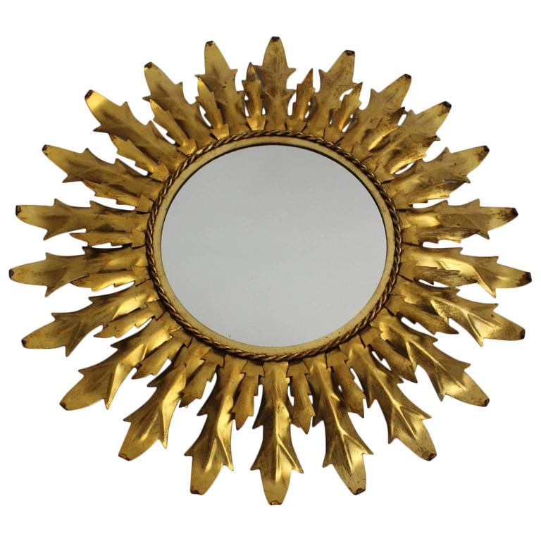 Italian Mid Century Modern Gilded Iron Sunburst Mirror with Curved Leaves