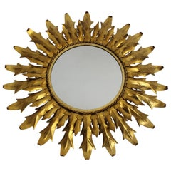 Mid Century Modern Gilded Metal Sunburst Vintage Mirror with Curved Leaves Italy